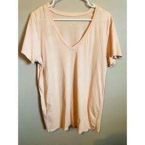 Everlane Peach Supima Cotton V Neck Tee Shirt